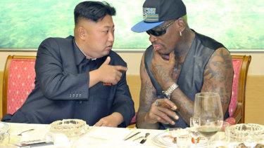 North Korean leader Kim Jong-un with former basketballer Dennis Rodman.