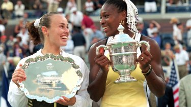 Serena Williams after winning her first grand slam title, at the 1999 US Open.