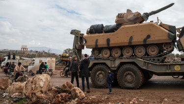 Turkish armoured vehicles in the village of Aaqrabate in Idlib, Syria.