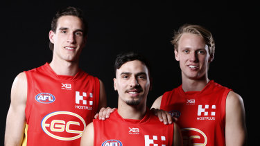 New Suns (from left) Ben King, Izak Rankine and Jack Lukosius. Already there is speculation about their future.