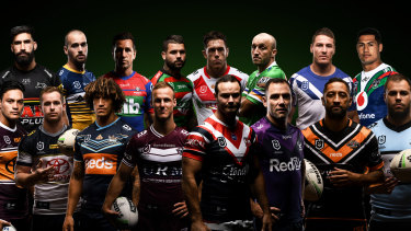 The 2020 NRL captains. Back from left: James Tamou (Penrith Panthers), Clint Gutherson (Parramatta Eels), Mitchell Pearce (Newcastle Knights), Adam Reynolds (South Sydney Rabbitohs), Cameron McInnes (St George Illawarra Dragons), Josh Hodgson (Canberra Raiders), Josh Jackson (Canterbury-Bankstown Bulldogs), Roger Tuivasa-Sheck (New Zealand Warriors)  Front from left: Alex Glenn (Brisbane Broncos), Michael Morgan (North Queensland Cowboys), Kevin Proctor (Gold Coast Titans), Daly Cherry-Evans (Manly Warringah Sea Eagles), Boyd Cordner (Sydney Roosters), Cameron Smith (Melbourne Storm), Benji Marshall (Wests Tigers), Wade Graham (Cronulla-Sutherland Sharks)