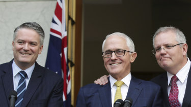 Mathias Cormann, Malcolm Turnbull and Scott Morrison at a joint press conference in 2018.