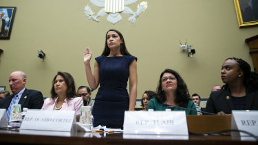 The four Democrat congresswomen attacked by Trump – Veronica Escobar, Alexandria Ocasio-Cortez, Rashida Tlaib and Ayanna Pressley – testify before the House Oversight Committee hearing on family separation and detention centres.
