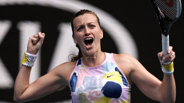 Petra Kvitova celebrates her fourth round win over Maria Sakkari on Sunday.