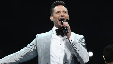 Jackman performing at Madison Square Garden.
