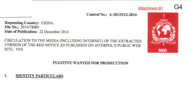 A redacted red notice from Interpol for a man improperly accused of kidnapping in China.