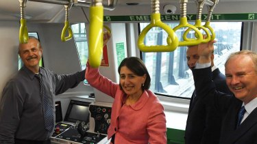 Campbelltown left hanging: Premier Gladys Berejiklian on the Metro line between Tallawong station and Norwest in March.