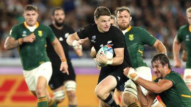 Danger man: New Zealand fullback Beauden Barrett on a break against South Africa.