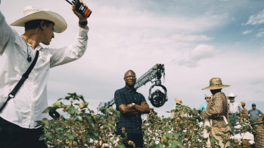 Barry Jenkins, centre, on the set of The Underground Railroad.