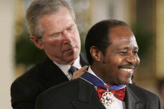 President George W Bush awarded Paul Rusesabagina the Presidential Medal of Freedom Award in 2005.