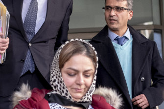 NaghmehMostafaei  and SeyyedAliFarshchi outside court yesterday.
