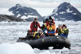 A Zodiac excursion in Antarctica.