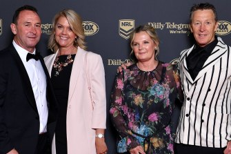 Ricky Stuart and Craig Bellamy with their partners at the 2019 Dally M Medal awards.