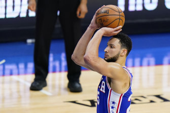 Philadelphia 76ers' Ben Simmons attempts a free-throw against the Washington Wizards in Game 5 of the  first-round NBA playoffs.