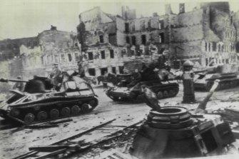 Russian army units in Berlin, 1945.