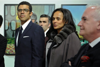 Isabel dos Santos and her art collector husband Sindika Dokolo attend the opening of an art exhibition featuring works from his collection in Porto, Portugal, in 2015.