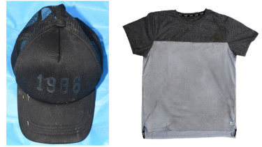 Police have released images of a black cap and a T-shirt found within 100 metres of the scene.