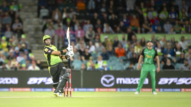 Sydney Thunder's Jason Sangha dominated on debut at Manuka Oval.