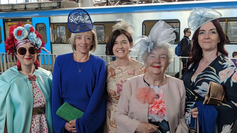The Harran ladies en route to Flemington Racecourse on Oaks Day.