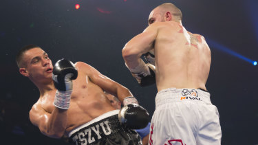 Tim Tszyu (left) and Joel Camilleri during their Australian Super Welterweight Title bout at The Star Casino in Sydney.