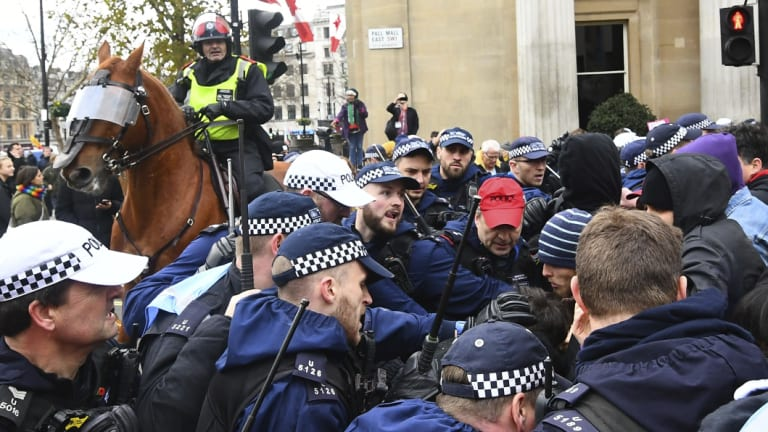 """The """"Brexit Betrayal Rally"""" led by English far-right activist Tommy Robinson and UKIP leader Gerard Batten, faced an anti-fascist counter-demonstration in central London."""