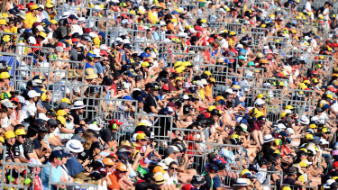 Fans watching the Grand Prix on the weekend.