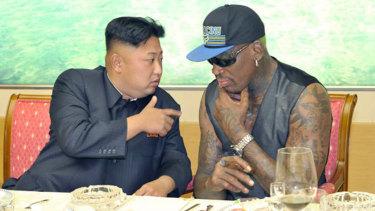 Kim Jong-un and Dennis Rodman in a photo circulated in 2013,
