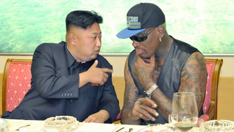 Kim Jong-un and Dennis Rodman in a photo circulated in 2013,