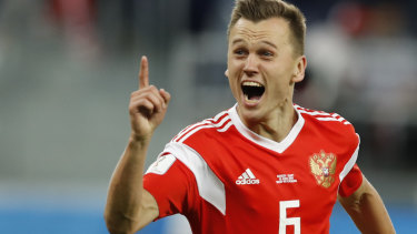 Pure joy: Russia's Denis Cheryshev celebrates after scoring his team second goal.