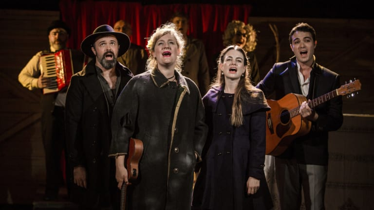 Front from left, Anthony Gooley, Virginia Gay, Laura Bunting and Matthew Pearce in <i>Calamity Jane</i>.