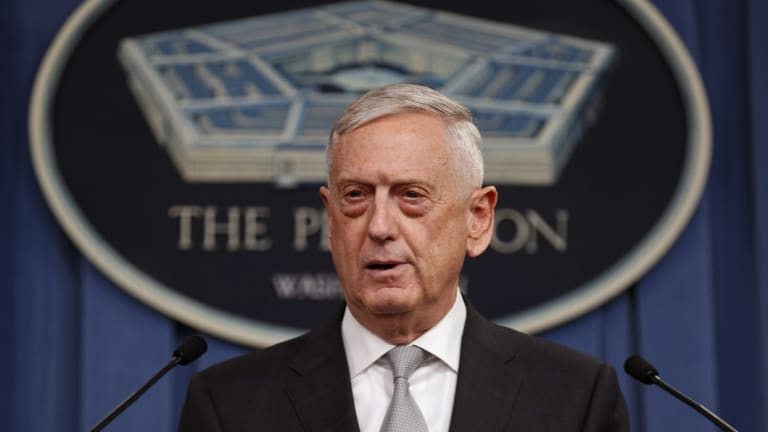 Defence Secretary Jim Mattis speaks at the Pentagon.