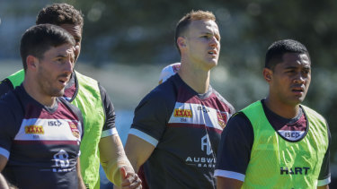 Leadership qualities: Maroons captain Daly Cherry-Evans trains with his team at Davies Park in Brisbane.