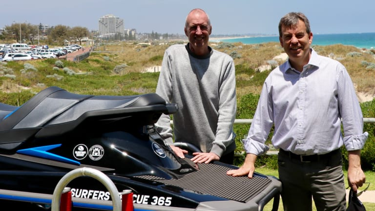 Surfing WA CEO Mark Lane with Fisheries Minister Dave Kelly launching their new partnership at Trigg Beach.