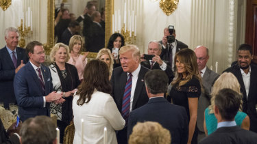 Vital support: Donald Trump hosts a dinner celebrating evangelical leadership at the White House in August.