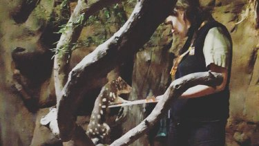 Ms Malik with Inala the spotted-tail quoll at Wildlife Sydney Zoo in 2016.