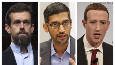 Twitter CEO Jack Dorsey (left), Google CEO Sundar Pichai (centre) and Facebook CEO Mark Zuckerberg.