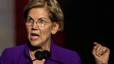 Senator Elizabeth Warren speaks during an event at Washington Square Park in New York.
