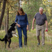 Carole and Verne King with their border collie, Katie, at their home in Deer Park, Washington.