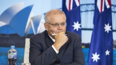 Prime Minister Scott Morrison at the start of the White House climate summit.