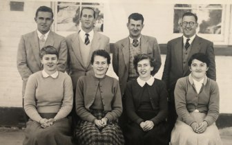 Maths teacher Frank Clatworthy (back, second from left) at Boorowa Central School in the late 1950s.