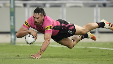 Brent Naden scores a try during minor premiers' Penrith's stunning NRL season.