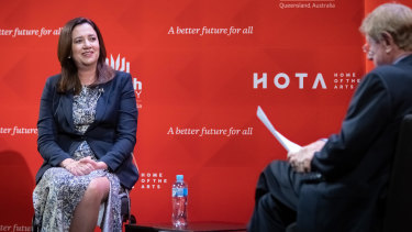 Premier Annastacia Palaszczuk in conversation with journalist Kerry O'Brien at the Home of the Arts on Thursday night.