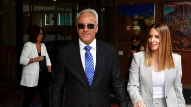 Former Orix executive George Georgiou leaving the NSW District Court after charges against him were dropped.