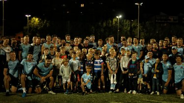 Waratahs players after an opposed session against Manly's first grade team at Manly Oval on Tuesday.