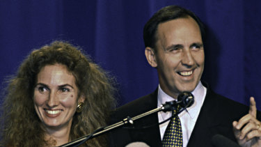 Paul Keating, with his then wife Annita, delivers his election victory speech in March 1993.