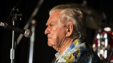 Former prime minister Bob Hawke at Woodford Folk Festival in 2017.
