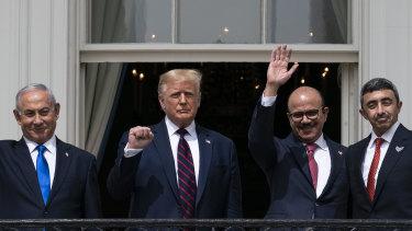 Israeli Prime Minister Benjamin Netanyahu, left, President Donald Trump, Bahrain Foreign Minister Khalid bin Ahmed Al Khalifa and United Arab Emirates Foreign Minister Abdullah bin Zayed al-Nahyan at the White House.