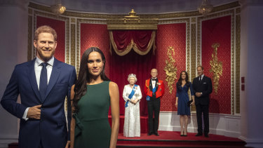 Madame Tussauds moved its figures of Prince Harry and Meghan, Duchess of Sussex, from its Royal Family set to elsewhere in the attraction on Thursday.