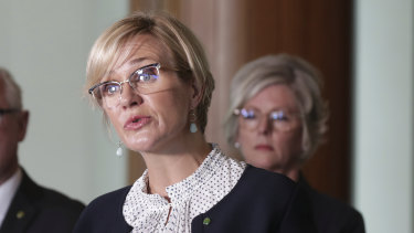 Zali Steggall launching her private climate change bill at Parliament on Monday.