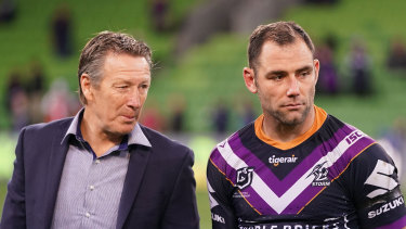 Storm coach Craig Bellamy (left) with his evergreen skipper Cameron Smith.